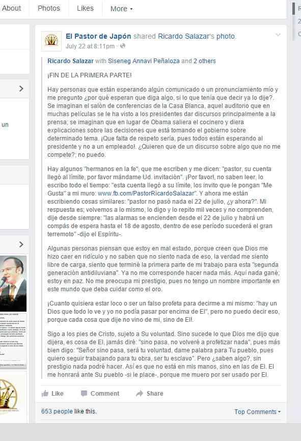falsa profecia y estafa de Ricardo Salazar